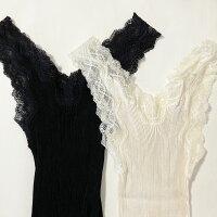 シルクインナーブラックM袖なしレディースダンクトップ絹日本製シニア