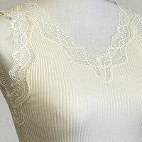 シルクインナーブラック袖なしレディースダンクトップ絹日本製シニア