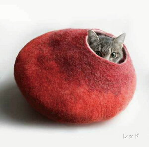 くるっと丸くなって・・・レビューを書いて1,000円引き!【FELTED CAT HOUSE by VAIVA】猫ちゃ...