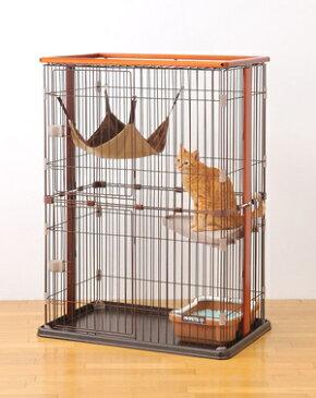 【ヤマト大型配送180】ボンビ 猫用ケージ ウッドワン サークル キャット 2段 猫用品 猫 ペット用品 ケージ 木製 ハンモック 棚板