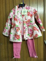 《送料無料》コストコ アウトレット #1033019 LITTLE ME リトルミー キッズ 3点セット(レインジャケット・Tシャツ・パンツ) サイズ:2T ピンク&花柄【Z】