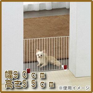 [ペット ゲート フェンス ゲート][ペットフェンス]リニューアル 幅90cm×高さ55cm置くだけ簡単!ペットフェンス P-SPF-96 ブラウン・ホワイト[犬 いぬ イヌ ドッグ ゲート 間仕切り しきり 通せんぼ おくだけ かんたん 柵 さく ワイヤー アイリスオーヤマ]【RCP】