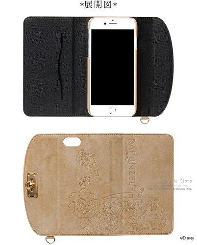 ディズニーキャラクターiPhone7用フリップカバースエードクラッチタイプ
