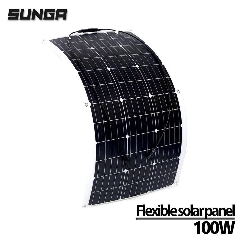 【複数割クーポンあり】 フレキシブル ソーラーパネル 100W MC4延長ケーブル 専用工具セット 高変換効率 18V-12V アメリカメーカーセル採用 単結晶シリコンパネル 日本語マニュアル付属 / 太陽光発電 / ソーラーチャージャー