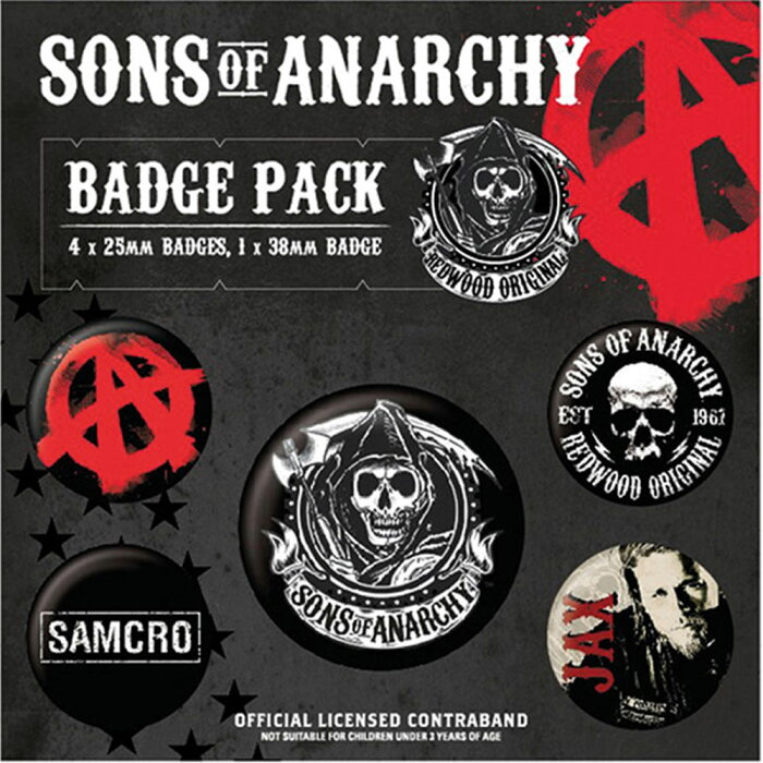 SONS OF ANARCHY サンオブアナーキー - Official Badge Pack 5個セット / バッジ 【公式 / オフィシャル】