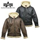 ALPHATA1399フード付きフェイクムートンB-3メンズミリタリーカジュアル合皮フライトジャケット