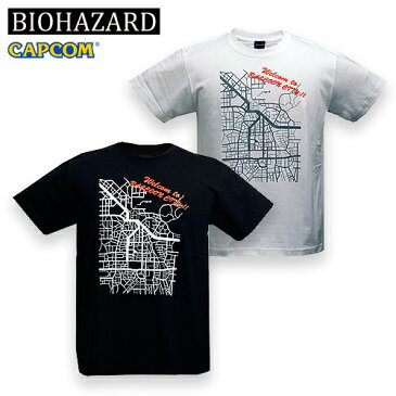 BIOHAZARD RACCOON CITY Tシャツ【バイオハザード resident evil CAPCOM カプコン ゲーム】メンズ 半袖 ラクーンシティ 地図 アンブレラ セール
