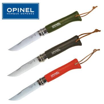OPINEL ステンレススチール ナイフ #8 w/コード 【オピネル stainless steel】ミリタリー アウトドア フォールディングナイフ 皮紐付き ブッシュクラフト