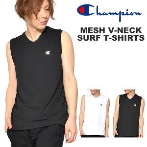 国内正規品 再入荷 ノースリーブシャツ チャンピオン Champion メンズ メッシュVネックサーフTシャツ ワンポイント 吸汗速乾