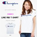 半袖TシャツチャンピオンChampionレディースLINERIBT-SHIRTラインリブTシャツビッグロゴ2017春夏新作CW-K305
