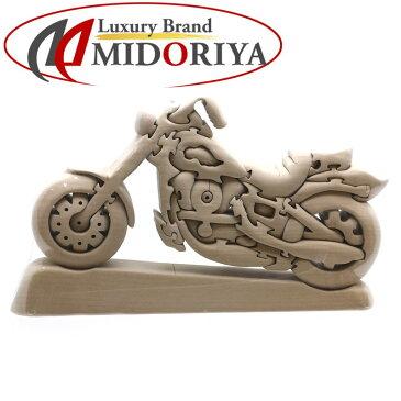 木製パズル バイク 木のおもちゃ レースバイク 天然素材 /043323 【未使用】コレクション 置物