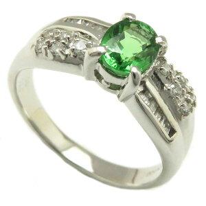 指輪グリーンガーネット1.08ctダイヤモンド0.24ctリング16号Pt900/62952【】