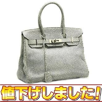 Hermes Birkin 30 Dalmatian F stamped / 14926 HERMES buffleskipper system silver bracket handbag back Gray-