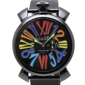 ガガミラノGaGaMILANOマヌアーレ46mmスリムブラックPVDマルチ5082.1メンズクォーツ/34388【】腕時計