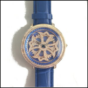 新品即日発送AnneCoquineアンコキーヌメンズCROSSSERIESスワロフスキーベゼルブルーゴールドグルグル腕時計