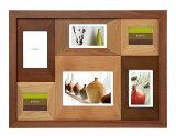 6窓フォトフレーム20%OFF(2L×1、ハガキ判×3、ミニ×2)CW30-60-BR/NT壁掛けウッドフレーム写真立て6枚木製複数枚新築祝いラドンナ