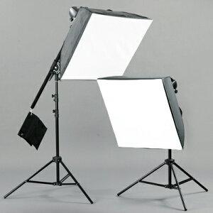 【送料無料】人物撮影や商品撮影に!2灯式でさらに明るく!ブーム+60×60cmソフトBOXと180Wスト...