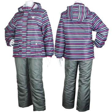 中綿しっかり子供 女の子 スキーウェア上下 (ブラック/黒 140cm 150cm 160cm) ガールズ ジュニア スキーウェア 全4色