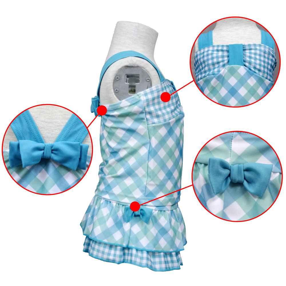 ガールズキッズ水着[PureJolly(ピュアジョリー)]女の子チェック柄リボン付スカパンセパレート水着?UVプロテクト?サンブロック商品写真3