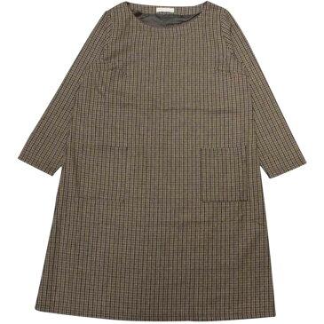 レディス大人上品カジュアル系チェックワンピース (ブラウン Lサイズ) レディース トップス長袖 全3色