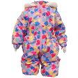 女の子ベビーハート柄中綿入りジャンプスーツ (ピンク 80 90 95) ガールズ ベビー スキーウェア 全2色