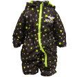 男の子ベビー星ドット柄中綿ジャンプスーツ (ブラック 90 95 80) ボーイズ ベビー スキーウェア 全4色