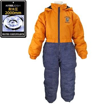 男の子 キッズ デニム柄 中綿入りジャンプスーツ 防寒 つなぎ スノーコンビ 雪遊び 子供用 (オレンジ/デニム 130cm 100cm 110cm 120cm) ボーイズ キッズ スキーウェア 全8色