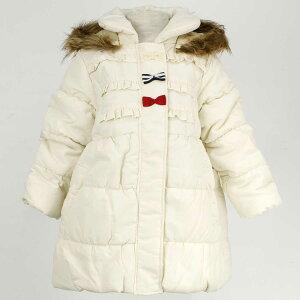 女の子 キッズ 中綿ジャンパー Aライン ハーフ コート フリル リボンつき ジャケット 無地 女の子 (アイボリー 110cm 120cm 130cm) ガールズ キッズ ジャンパー・コート 全2色