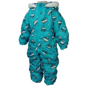 男の子 キッズ 車 くるま柄 中綿入りジャンプスーツ 防寒 つなぎ スノーコンビ 雪遊び 子供用 (ターコイズ 100cm 110cm 120cm 130cm) ボーイズ キッズ スキーウェア 全2色