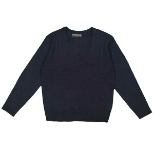 スクールセーター キッズ 男女兼用 無地 Vネック ニット 洗濯機可能 卒業式 入学式に 男の子 女の子 (ネイビー 120cm 130cm) ガールズ キッズ トップス長袖 全2色