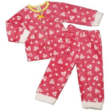 女の子 キッズ パジャマ マイクロボアパジャマ 長袖上下セット ハート柄 寝間着 女児 (PK/ピンク 100cm 110cm 120cm 130cm) ガールズ キッズ パジャマ 全2色