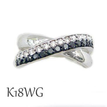 リング ブラック ダイヤモンド ダイア 18金 ホワイト ゴールド 指輪 黒 白 オセロ ライン クロス かっこいい クール 上品 0.40ct 保証書 鑑別書 取り寄せ 可能 ケース付 K18 WG 18K プレゼント お祝い 贈り物 ギフト ラッピング 包装 記念 誕生日 レディース メンズ