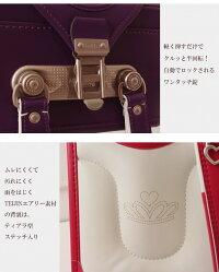 ランドセル女の子日本製ハッカキッズプリンセスティアラキュートブラウン/茶/BROWN/アカ/エンジ/赤/RED/パープル/紫/PURPLEキューブ型/ウィング背カン=フィットちゃん同等/ワンタッチ錠/A4ブック(フラット)ファイルサイズ。