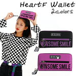 ロゴ刺繍とハートファスナーの長財布