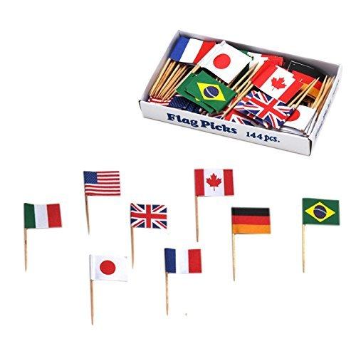 【メール便可210円】お子さまランチ 旗 国旗 ホームカフェ 万国旗 各国混合 144本入 57331