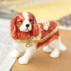 <キャバリア ジュエリーボックス>天真爛漫な犬の置物 ペットとお揃いグッズ[ジュエリーボックスのピィアース]