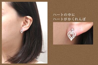 【meon...】K10ホワイトゴールド・アンティークハートモチーフ・イヤリング送料無料