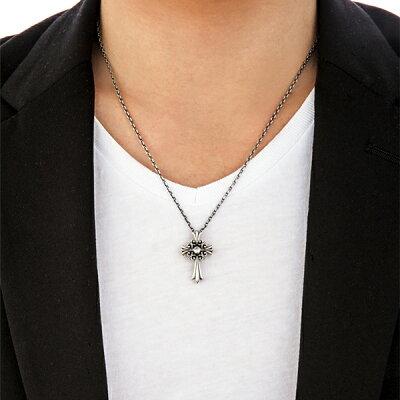 メンズシルバーネックレスクロスフォーLilyofCrossCrossfornewyorkforMen十字架シルバー925送料無料優雅な風格でスタンダードな百合とクロスのデザイン