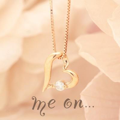 【meon...】手書き風ハートに煌くダイヤ◆K10ピンクゴールド(PG)ダイヤモンド・オープンハートネックレス