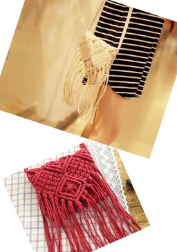 紐編みショルダーバック タッセルフリンジ かばん 雑貨 カジュアル カラー豊富