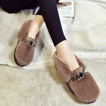 飾りチェーン付ファーフラットシューズ 靴