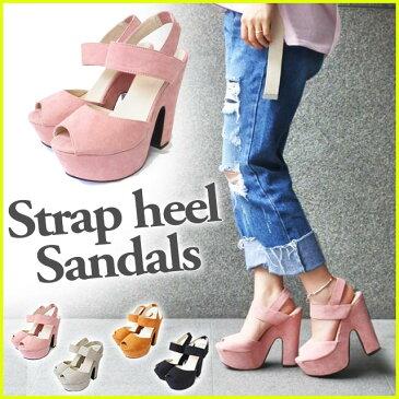 太ヒール ストラップサンダル 靴 ヒール 大きいサイズ レディース 全4色
