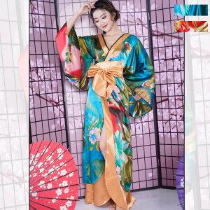 Gradient Long Kimono Kleid Kaba Kleid Damen Japanisches Muster Kostüm Tanz Yosakoi Oiran Cosplay Hübsches Design
