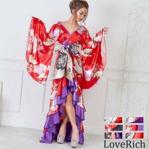 الساتان النمط الياباني الكشكشة فستان كيمونو طويل فستان الكابا زي السيدات الرقص يوساكوي أويران تأثيري نمط الأزهار حورية البحر