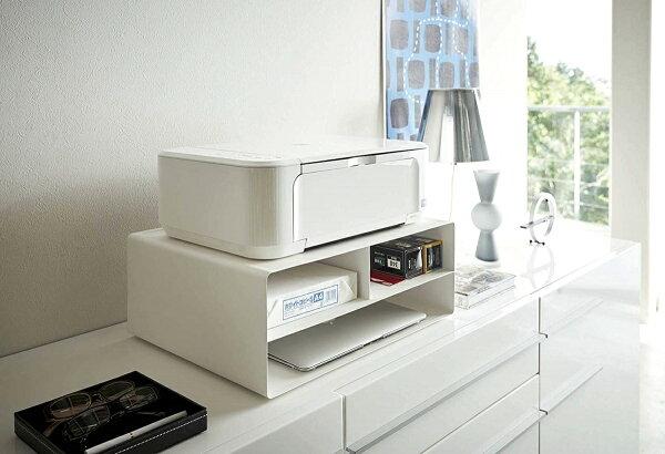 ツーウェイプリンター収納ラックホワイトブラックタワープリンター台プリンター棚キャスターコンパクト仕事部屋オフィスギフトプレゼント