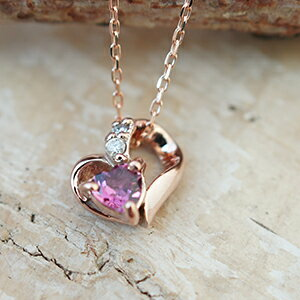 オープンハートの中に天然石ピンクトルマリンと0.01ctダイヤモンドの2つの石が輝くネックレスダイアモンド20%OFF送料無料