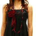 女優オーラを振りまく!送料無料ベロアコサージュ付BIGビーズ数珠ロングネックレス!29%OFF