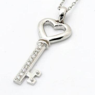 直線に輝くダイヤの煌き。10個のダイヤが煌く オープンハート鍵モチーフネックレス 発送目安:2〜3週間 送料無料