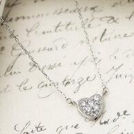 K10WG天然ダイヤモンドが5粒輝くハートのネックレス10金ホワイトゴールドのハートに0.1ctのダイヤ宝石鑑別書カード付き4月の誕生石ダイアモンド送料無料