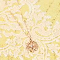 K10PG0.01ctの天然ダイヤが輝く透かし模様のネックレスフラワーモチーフ風ダイヤモンドの宝石鑑別書カード付き4月の誕生石送料無料